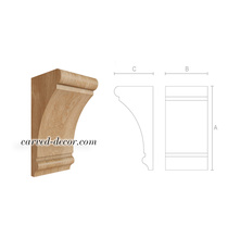 Smooth wooden corbel, Carved corbel onlay