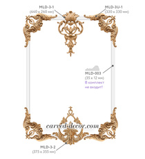 Unique wood scroll wall decor, Onlays set with giant appliques