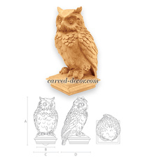 Unpainted owl finial, Hand carved post cap