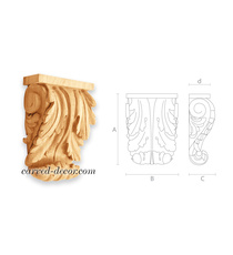 Baroque-style wooden corbel, Ornate...