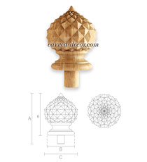 Ethnic style carved cupola finial f...