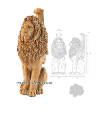 Large Winged Lion handcrafted stair...