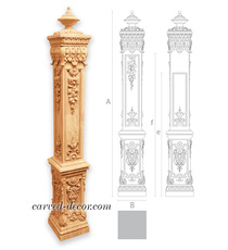 Baroque style staircase post with f...