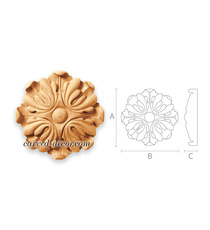 Architectural carved wood rosettes trim