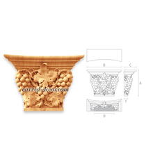 Hand carved capital Grapes, Pilaster decorative capital