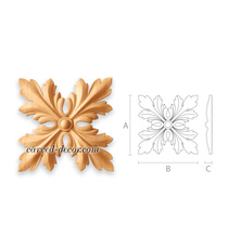 Architectural carved wood rosettes for cabinet doors