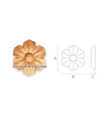 Classic carved rosettes, Round flower rosettes