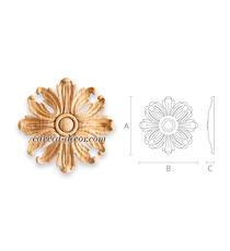 Hardwood interior rosette, Rounded floral onlay