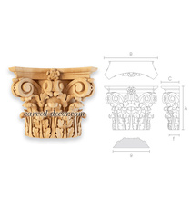Scrolled wooden capital for interior trim
