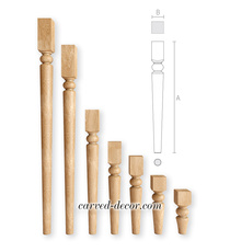 Handcrafted wood furniture legs in a classical style
