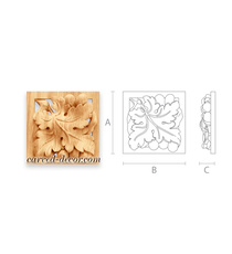 Hand-carved square rosette with grapes design, Left