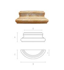 Unpainted half round column base fr...