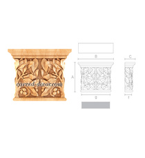Architectural floral capital for interior decoration