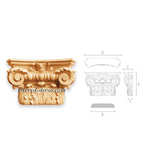Architectural wooden capital for pilaster