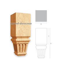 Square wooden furniture leg with ca...