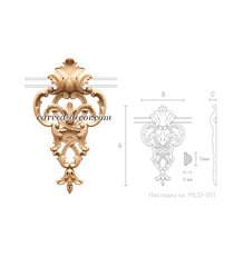 Baroque-style wooden drop onlay wit...