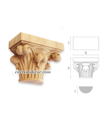 Scroll Gothic capital corbel, Carved wooden capital