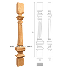 Fluted carved baluster, Unpainted classic baluster