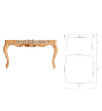 Baroque wooden coffee table with ca...