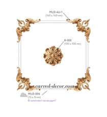 Wooden appliques with floral medallion