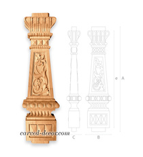 Antique railing baluster, Ionic wooden spindle