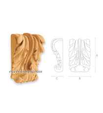 Decorative carved wood corbels for cabinet