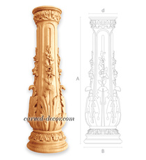 Round custom newel post with floral...