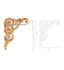 Solid wood acanthus corners with scrolls, Left