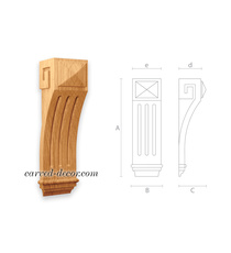 Antique-style wooden corbel for doo...