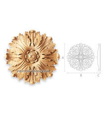 Relief carved rosette, Large round rosette applique
