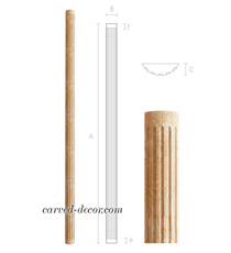 Half-round hardwood pilaster for in...