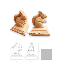 Squirrel handcrafted wooden finial ...