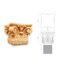 Decorative scrolled capital, Wooden floral capital