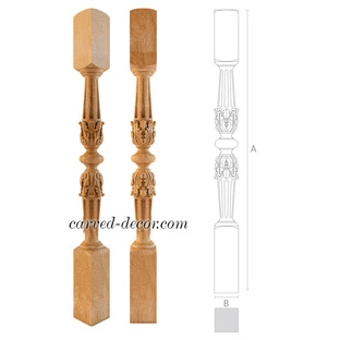 Decorative wood stair post for interior