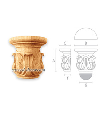 Wooden half-round capital, Classical small capital