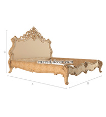 Carved Antique style bed, Handcrafted bed frame