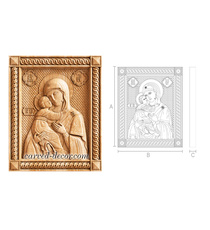 Vladimir Mother of God carved woode...