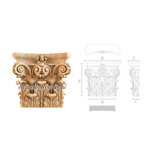 Antique-style wooden capital for interior