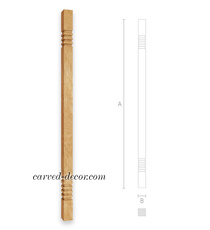 Architectural staircase baluster, Oak interior baluster