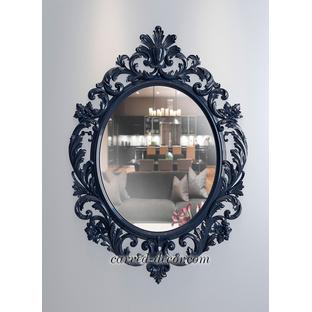 Custom made carved wood wall mirror