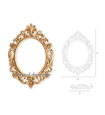 Large oval mirror frame with floral...