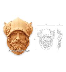 Greek warrior wooden applique for i...
