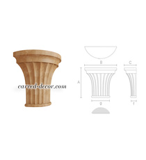 Carved fluted capital, Half round capital onlay