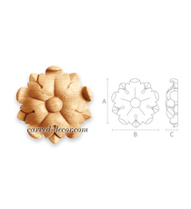 Decorative hand carved wood rosettes for cabinet doors