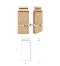 Hardwood pilaster base, Unpainted pilaster pedestal