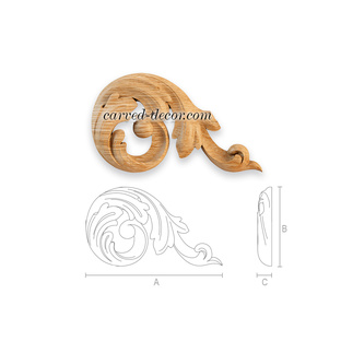 Unfinished carved wood appliques for interior