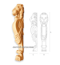 Carved lion decorative post for sta...
