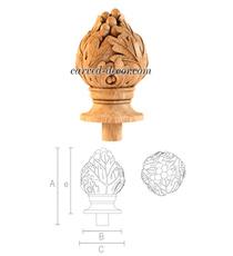 Grapes wooden finial, Decorative newel post cap