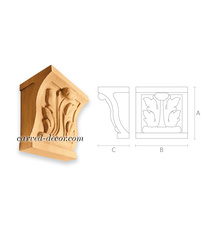 Square wooden bracket with acanthus...