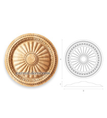 Round Ceiling-mounted ionic rosette...